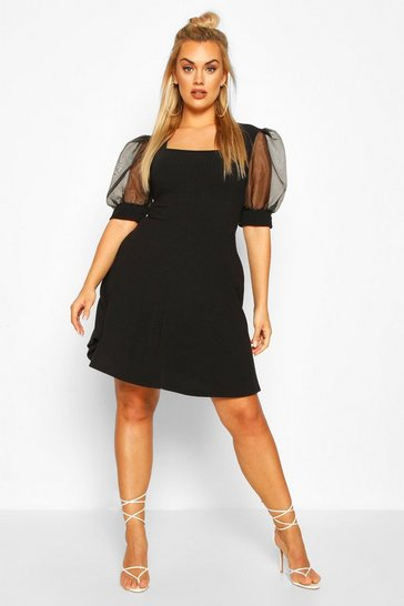 Black Plus Organza Puff Sleeve Skater Dress