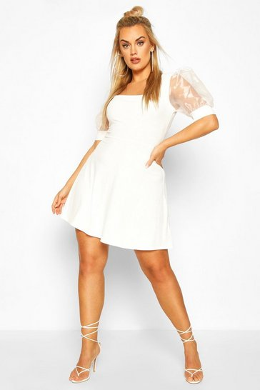 Ivory white Plus Organza Puff Sleeve Skater Dress