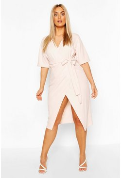 Blush pink Plus Wrap Self Belted Midi Dress