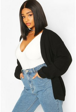 Black Plus Edge To Edge Waffle Knit Cardigan