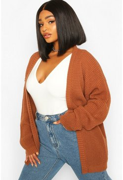 Hazelnoot beige Plus Wafel Gebreide Edge To Edge Cardigan