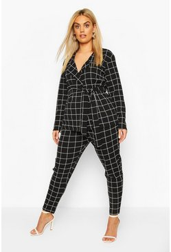 Black Plus Grid Check Blazer & Pants Two-Piece
