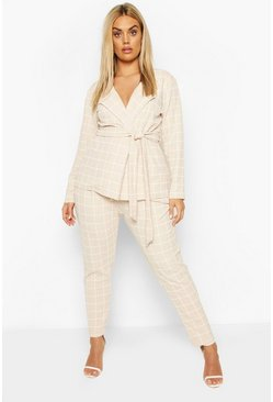 Stone beige Plus Grid Check Blazer & Trouser Co-ord