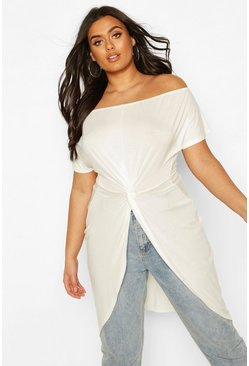 Ivory white Plus Off The Shoulder Twist Maxi Top
