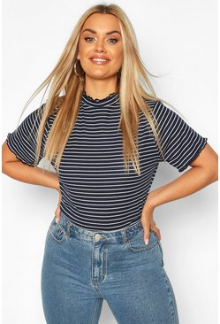 Navy Plus Lettuce Hem Stripe Rib T-shirt