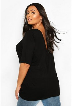 Zwart black Plus basic T-shirt met oversized v-rug