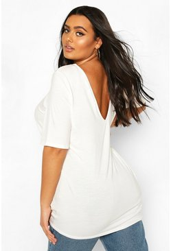 Ivory Plus Basic V Back Oversized T-shirt