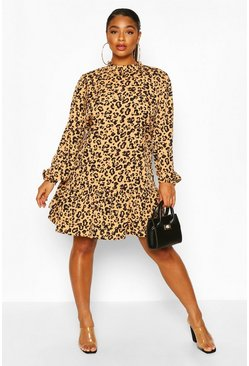 Tan brown Plus Leopard Print High Neck Smock Dress