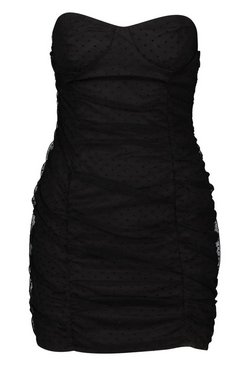 Black Petite Dot Mesh Bandeau Dress