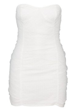 White Petite Dot Mesh Bandeau Dress