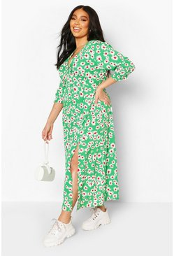 Green Plus Daisy Print Split Front Midaxi Dress