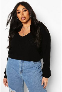 Black Plus V-neck Fisherman Crop Jumper
