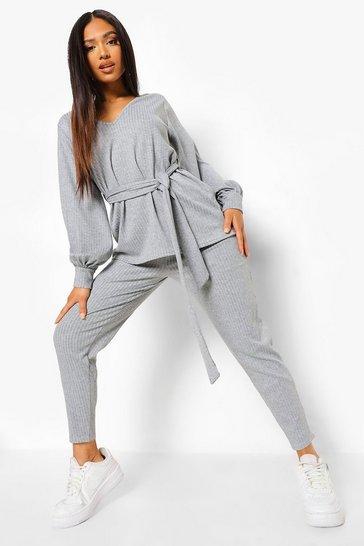 Grey Petite Knitted Soft Rib Legging Co-Ord