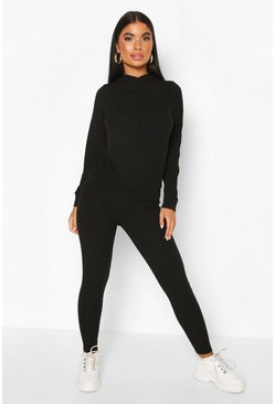 Black Petite Knitted Soft Rib Hoody and Legging Co-Ord