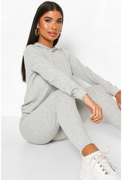Grey Petite Knitted Soft Rib Hoody And Legging Two-Piece