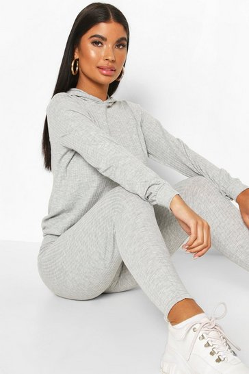 Grey Petite Knitted Soft Rib Hoody and Legging Co-Ord