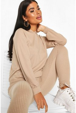 Sand beige Petite Knitted Soft Rib Hoody and Legging Co-Ord