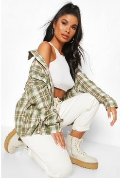 Khaki Petite Oversized Pocket Detail Check Shirt