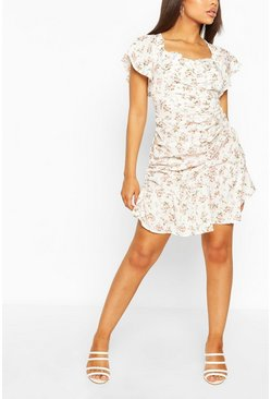 White Petite Floral Ruched Mini Dress