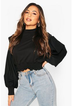 Black Petite Volume Sleeve Ruched Waist Sweatshirt