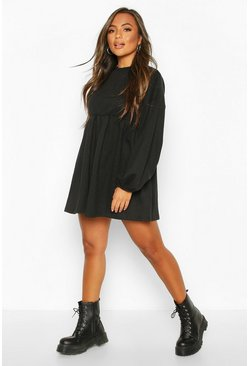 Black Petite Puff Sleeve Smock Sweat Dress