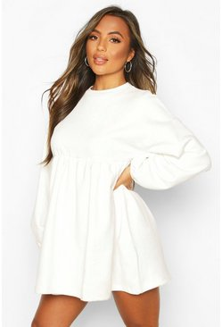 Ivory Petite Puff Sleeve Smock Sweat Dress