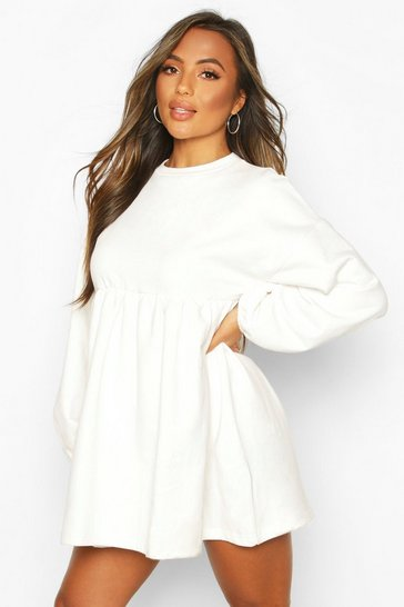 Ivory white Petite Puff Sleeve Smock Sweat Dress