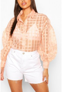 Blush Petite Organza Mesh Check Shirt