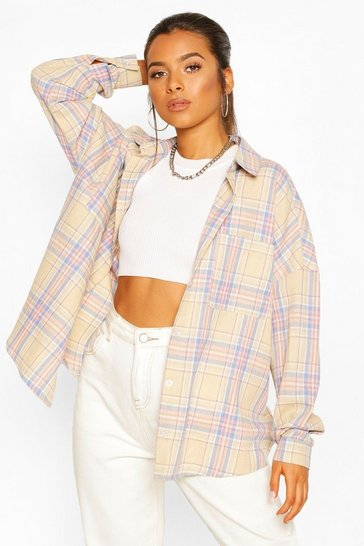 Pink Petite Oversized Pocket Detail Check Shirt