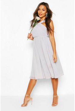 Grey Petite Occasion Pleated Detail Midi Dress
