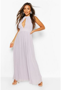 Grey Petite Occasion Pleated Panel Detail Maxi Dress