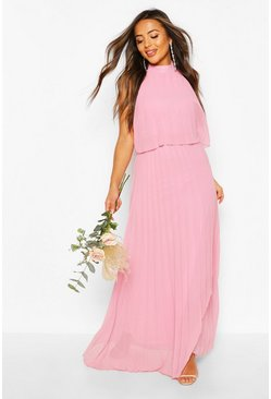 Blush pink Petite Occasion Pleated Double Layer Maxi Dress