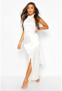 Ivory white Petite Occasion Satin High Neck Bow Back Maxi