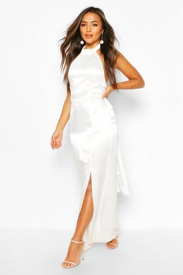 Ivory Petite Occasion Satin High Neck Bow Back Maxi