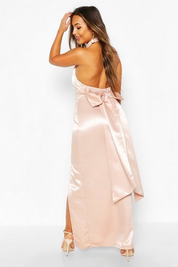 Soft pink pink Petite Occasion Satin High Neck Bow Back Maxi