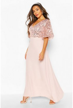 Blush pink Petite Occasion Sequin Angel Sleeve Maxi Dress