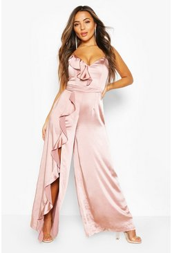 Blush Petite Occasion Satin Ruffle Detail Jumpsuit