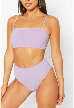 Lilac purple Petite High Waist Crinkle Bikini Bottom