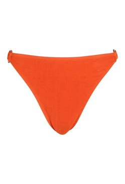 Rust Petite Crinkle Mock Horn O-Ring Bikini Bottom