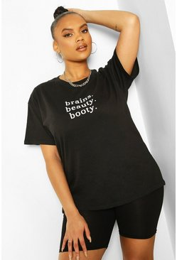 Black Plus Brains Beauty Booty Slogan T-shirt