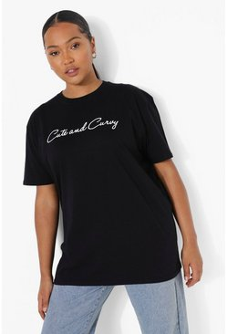 Black Plus Cute And Curvy Graphic T-Shirt