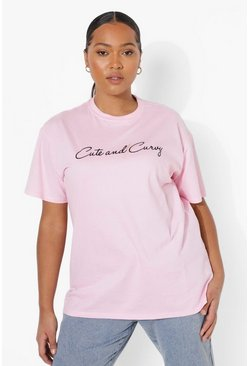 Pink Plus Cute And Curvy Graphic T-Shirt