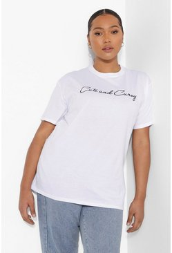 White Plus Cute And Curvy Slogan T-shirt