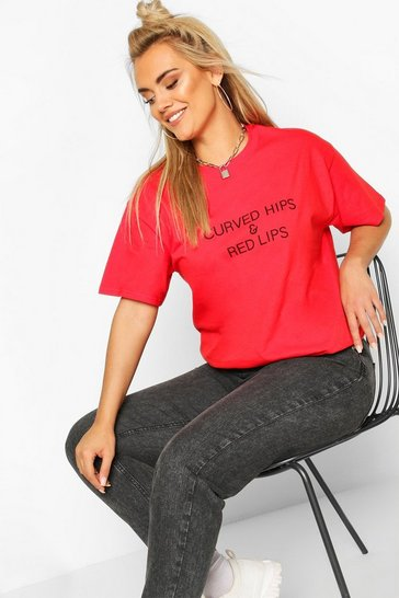 Red Plus Curved Hips & Red Lips Slogan T-Shirt