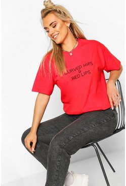 "Plus T-Shirt mit ""Curved Hips & Red Lips""-Slogan"