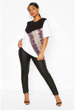 Black Plus Colourblock Snake Boxy Top