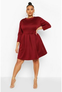 Berry red Plus Scuba Full Skater Dress