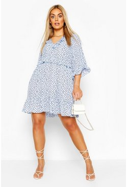 Baby blue blue Plus Polka Dot Kimono Sleeve Smock Dress