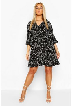Black Plus Polka Dot Kimono Sleeve Smock Dress