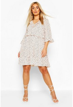 Blush pink Plus Polka Dot Kimono Sleeve Smock Dress